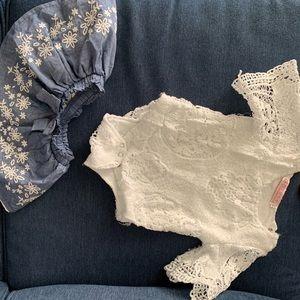 Lace white top/Denim Skirt Set (3 mo)